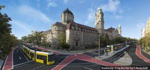 Vizualizace nové tramvajové trati skrze čtvrť Moabit v Berlíně. Pramen: © BVG/ Vössing Ingenieur GmbH