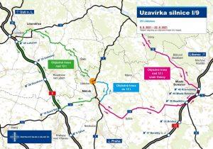 Objízdné trasy pro uzavírku silnice I/9 v Liběchově. Foto: ŘSD