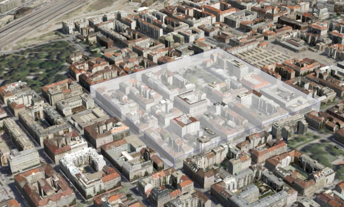 První vídeňský superblok, vizualizace. Pramen: © MA 19 7 MA 41 Stadt Wien
