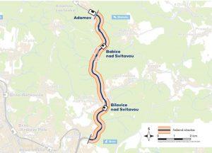 Trasa modernizovaného koridoru z Brna do Adamova. Mapa: Správa železnic