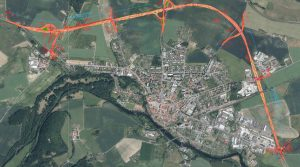 Plánovaný obchvat Horažďovic (I/22). Pramen: ŘSD/dokumentace EIA