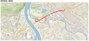 Mapa opravovaného úseku I/13 v Děčíně