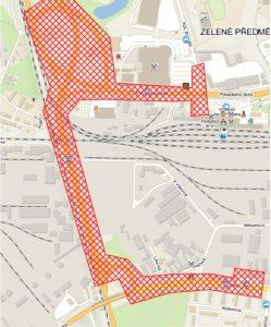 Mapa nové trolejbusové trati Hlavní nádraží - Dukla, vozovna v Pardubicích. Foto: Prodin