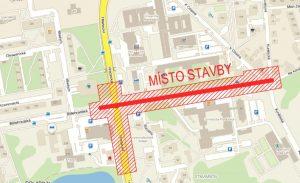 Mapa nové trolejbusové trati ve Studentské ulici v Pardubicích. Foto: Prodin