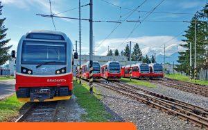 Všech pět nových jednotek Stadler GTW v depu v Popradě. Foto: Tomáš Mlynarčík / ZSSK