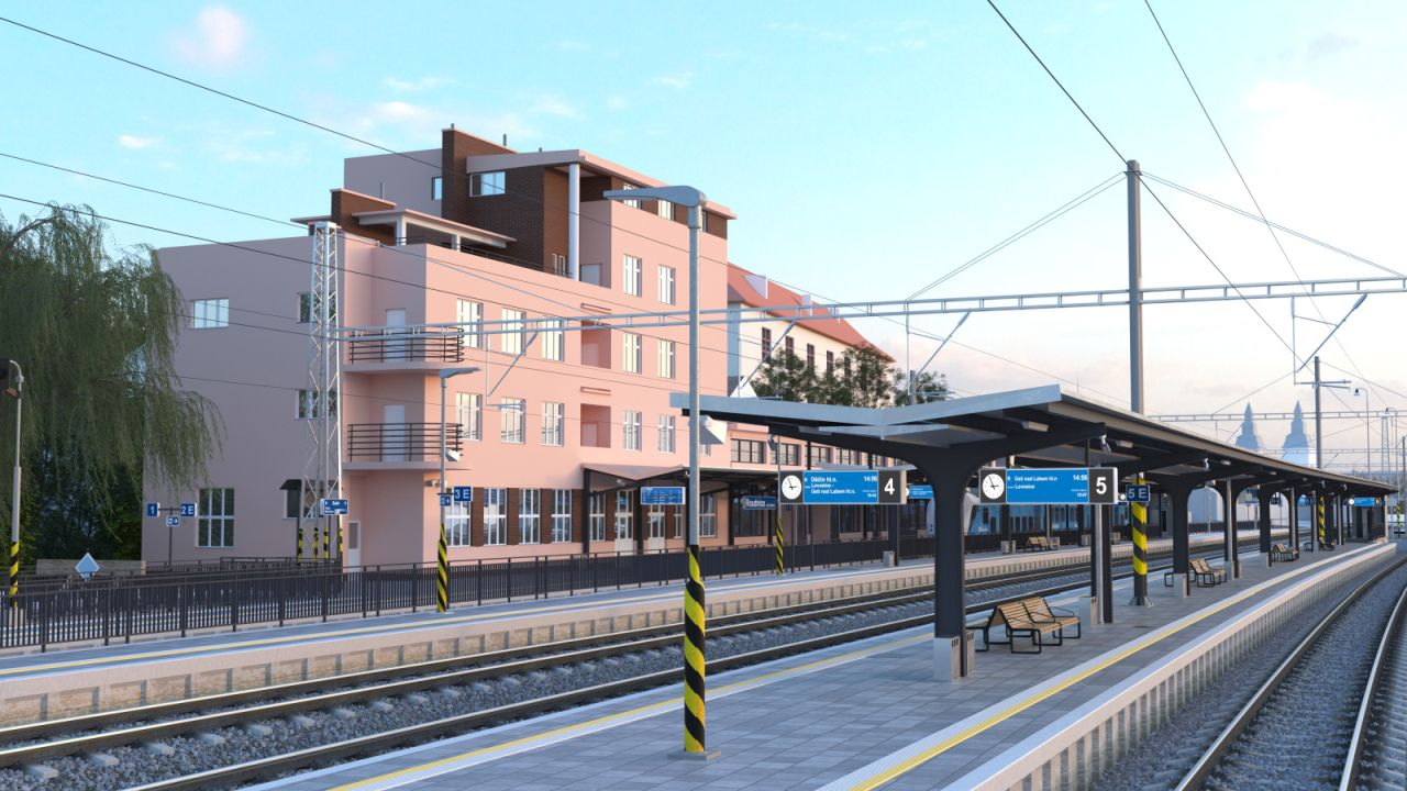 Vizualizace stanice Roudnice nad Labem po přestavbě. Foto: Správa železnic