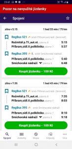 Spojení a cena jízdenky Rožmitál - Praha v rámci PID autobusem