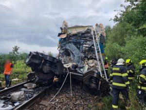 Srážka vlaků u Domažlic. Foto: HZS Plzeňského kraje