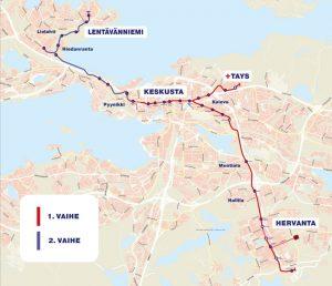 Mapa tramvajové sítě v Tampere. Foto: Tampereen Ratikka