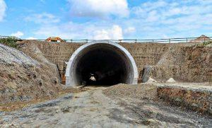 Zvěrotický tunel na stavbě IV. koridoru Soběslav - Doubí. Pramen: Správa železnic