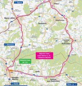 Mapa objízdných tras kvůli uzavírce ve Valašském Meziřičí. Foto: ŘSD