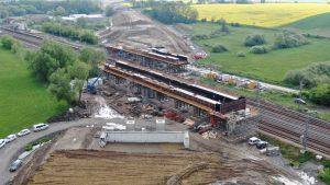 Stavba dálničního mostu na D35 u Uherska. Foto: ŘSD