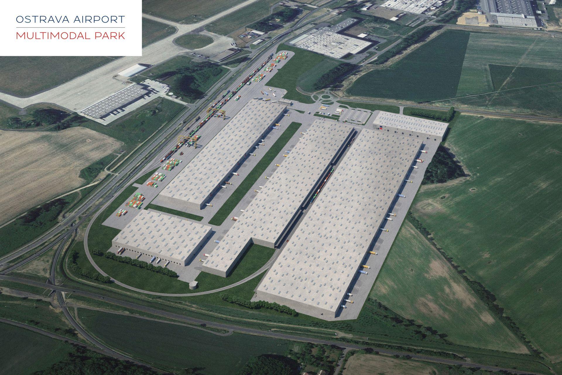 Terminál kombinované dopravy u letiště Mošnov, vizualizace. Pramen: Concens Investments