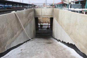 Pardubice hl. n., září 2021 - rekonstrukce prvního ze dvou podchodů. Pramen: Správa železnic