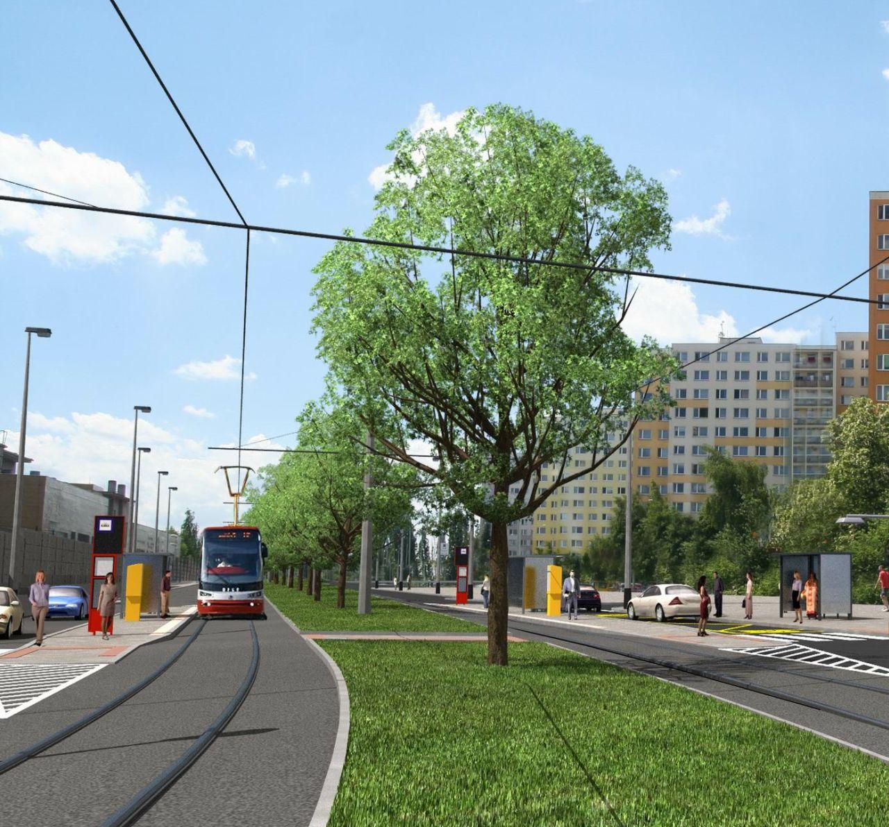 Vizualizace nové tramvajové trati z Divoké Šárky na Dědinu. Foto: Metroprojekt