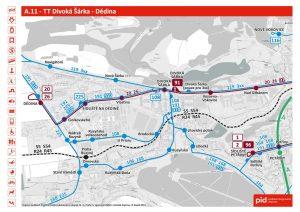 Mapa nové tramvajové trati na Dědinu a organizace dalších linek po jejím dokončení. Foto: PID