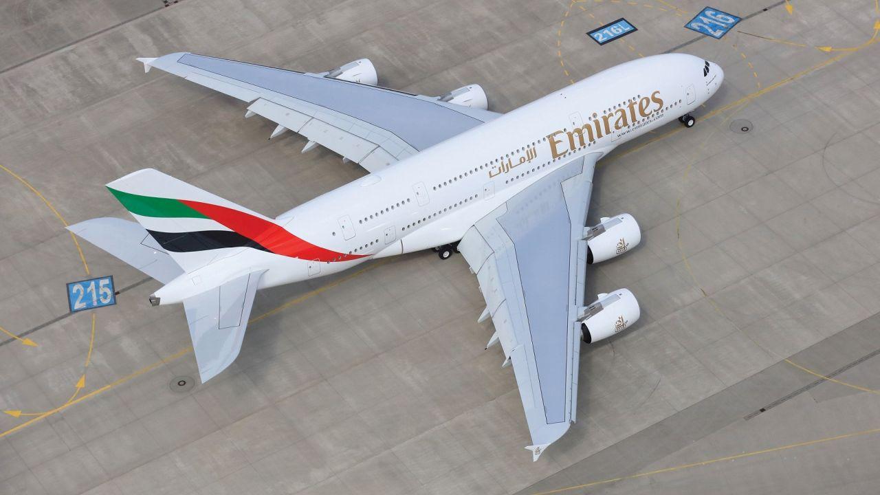Airbus A380 společnosti Emirates. Foto. EK