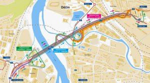 Mapa objízdných tras při uzavírce estakády v Děčíně. Foto: ŘSD