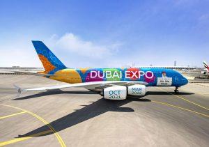 Airbus A380 společnosti Emirates v barvách Expo 2020. Foto: Emirates