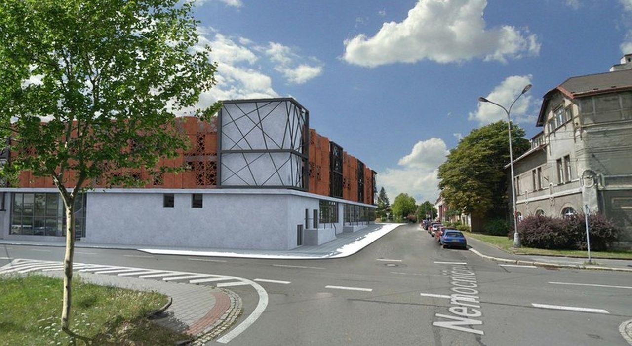 Vizualizace parkovacího domu u Městské nemocnice Ostrava. Foto: Ostrava