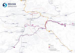Mapa plánovaného rozvoje městských linek v Praze. Foto: PID
