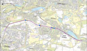 Mapa se zákresem nových zastávek na trati z Malešic do Běchovic. Foto: dokumentace pro EIA
