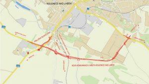 Trasa nového jižního obchvatu Roudnice nad Labem
