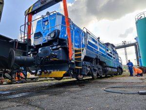 Společné cvičení CZ LOKO, HZS Správy železnic a ČD Cargo při nakolejování lokomotivy. Foto: Dalibor Palko