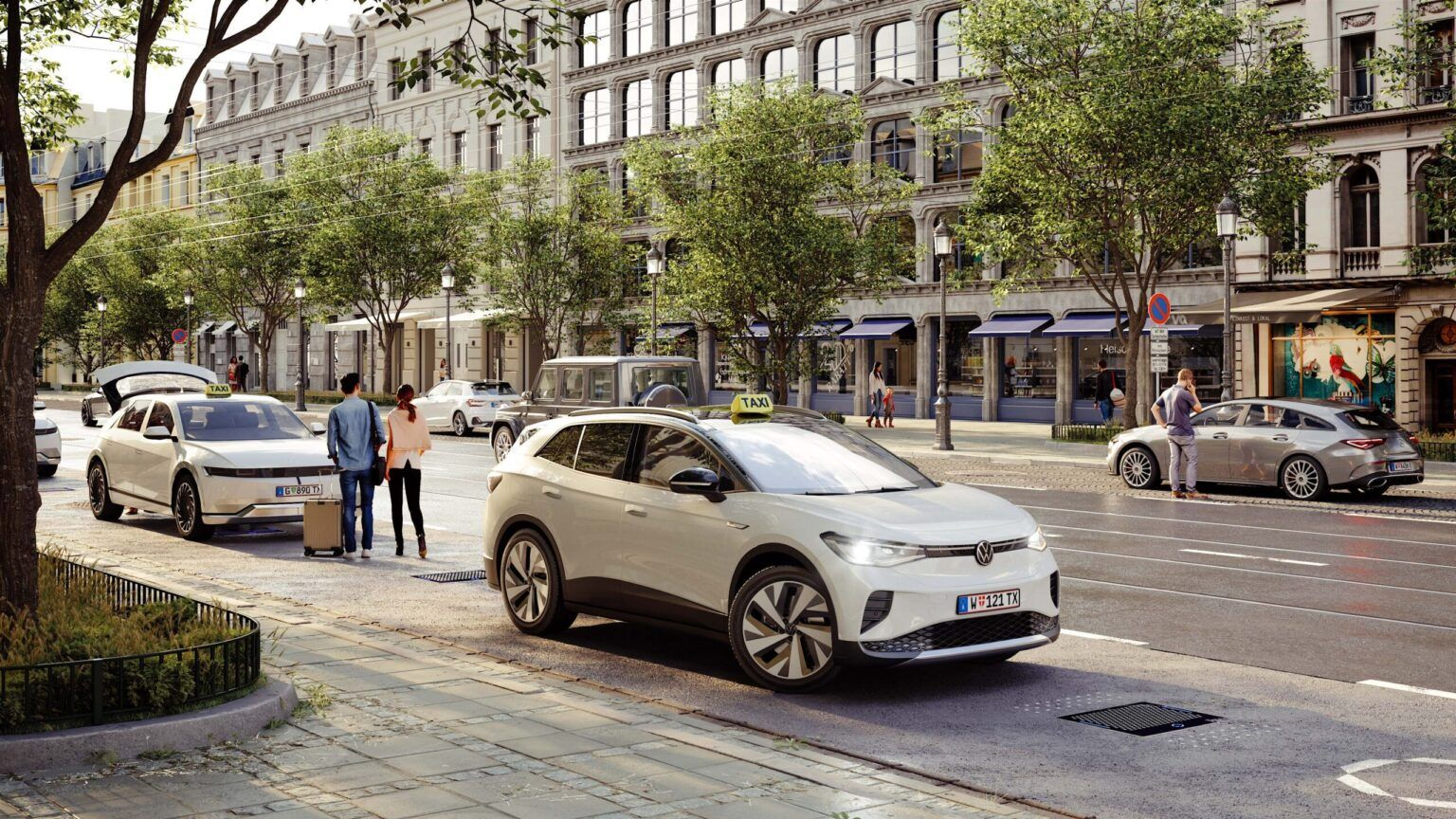 Vizualizace dobíjení elektrických taxíků, Vídeň. Vizualizace eTaxi © ALT/SHIFT